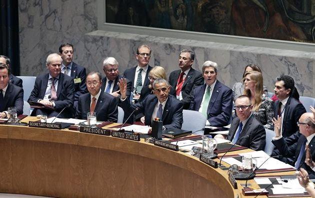 El presidente estadounidense, Barack Obama (c), habla en una reunión de alto nivel del Consejo de Seguridad de Naciones Unidas sobre terrorismo mundial durante la 69 Asamblea General de la ONU hoy, miércoles 24 de septiembre de 2014, en Nueva York (EE.UU.). Foto: EFE