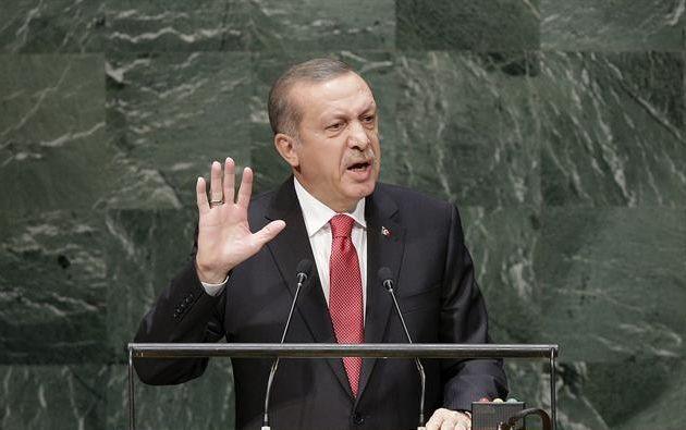 El presidente turco, Recep Tayyip Erdogan, habla durante el debate general de la 69 Asamblea General de la ONU hoy, miércoles 24 de septiembre de 2014, en Nueva York (EE.UU.).  Foto: EFE