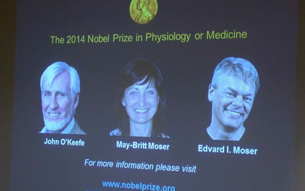 MEDICINA. John O'Keefe, May-Britt y Edvard Moser. Foto: REUTERS