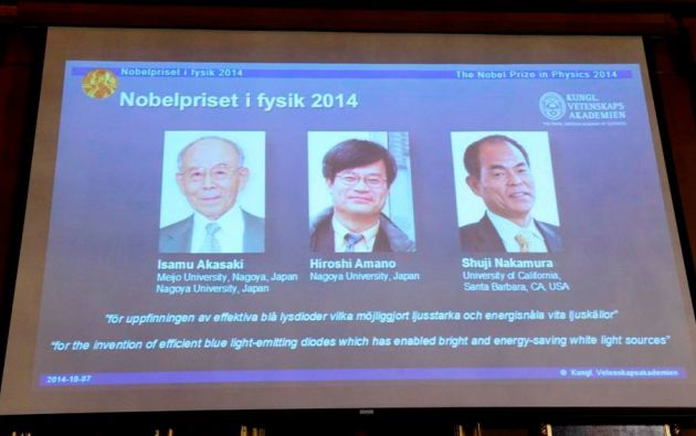 FÍSICA. Isamu Akasaki, Hiroshi Amano y Shuji Nakamura. Foto: REUTERS