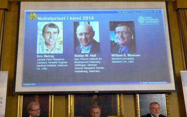 QUÍMICA. Eric Betzig, William Moerner y Stefan Hell. Foto: REUTERS