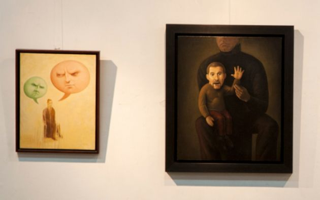 Obra Muñeco saludando (d). Óleo sobre tela.