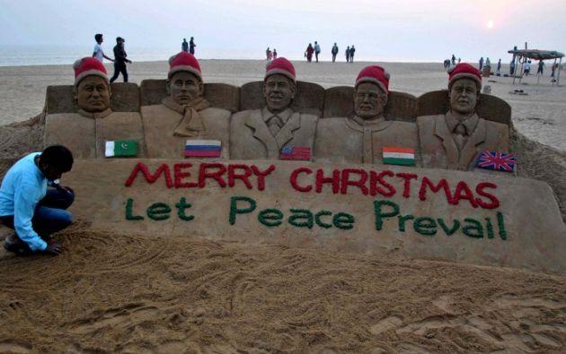 Piden Paz en India. Foto: AFP