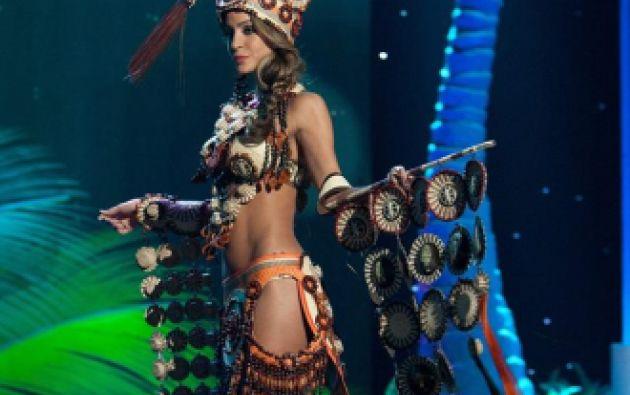 El traje típico que lució Alejandra Argudo. Foto: Facebook / Miss Ecuador