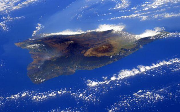 La isla de Hawai (EE.UU.) vista desde la Estación Espacial Internacional.