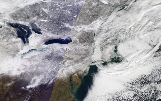 Imagen del noreste de EE.UU. (enero de 2015), tras un intenso clima de invierno en Nueva Inglaterra y la zona circundante.