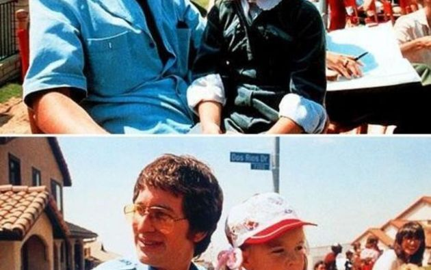 Steven Spielberg y Drew Barrymore en el set de  E.T.