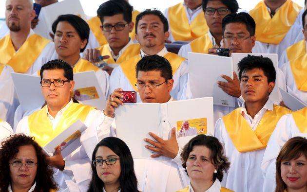 Más de 200 personas conformaron el coro que cantó en la misa oficiada por el sumo pontífice.