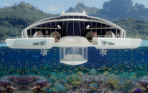 Hotel solar flotante: Maldivas. Michele Puzzolante de MPD Designs creó este diseño para un hotel de lujo, ideal para quienes quieren relajarse en privado, dado que la estructura flota a 16 km. de la costa.