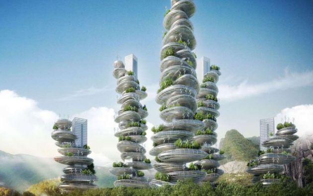 """Torres Farmscraper: Shenzhen, China. Otro diseño de Vincent Callebaut: estas torres ecológicas y futuristas se llaman """"farmscrapers"""", y combinan varios ecosistemas con oficinas y apartamentos de diseños inteligentes."""