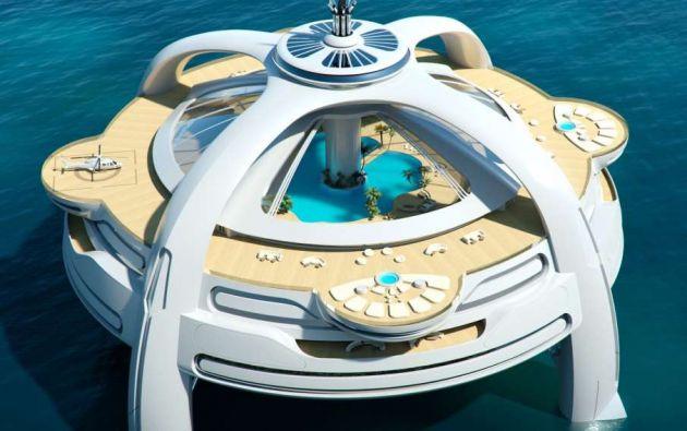 Project Utopia: Inglaterra. Diseñado por Yacht Island, junto con BMT Nigel Gee. Project Utopia es un yate y una isla. Con un díametro de unos 100 metros, la estructura descansa sobre una plataforma de cuatro patas, diseñada para absorber el movimiento, incluso en las condiciones más extremas.