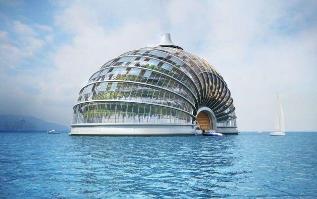 """Ark Hotel: Rusia La empresa rusa Remistudio diseñó este hotel futurista con la ayuda del programa de la Unión Internacional de Arquitectos, """"Arquitectura para asistencia de catástrofes"""". Este diseño único hace frente a las amenazas vinculadas al aumento del nivel del mar e inundaciones."""