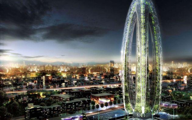 """Bionic Arch: Taiwán. Un rascacielos futurista diseñado por Vincent Callebaut, que apunta a limpiar el aire de polución utilizando sus paredes vivas. El edificio está cubierto de miles de árboles y el diseño podría llegar a solucionar el problema de contaminación """"chupando"""" los gases tóxicos."""