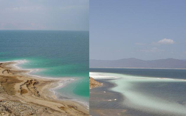 El agua del famoso mar Muerto (izquierda) contiene un 28% de sal, un porcentaje inferior al 35% del lago Assal (derecha), en la República de Yibuti.