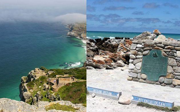 El cabo de las Agujas (D) se encuentra 155 kilómetros al sudeste del cabo Buena Esperanza (I), al cual el acervo popular atribuye, erróneamente, la característica de ser el cabo más meridional de África.