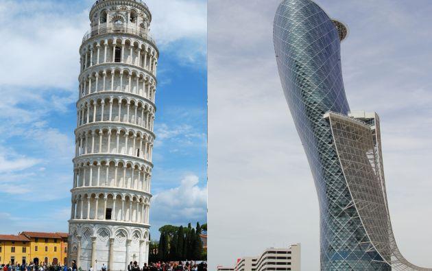 Se cree que la torre de Pizza (izquierda) es la más inclinad.Pisa tiene una inclinación de 3,97 grados. Sin embargo, el rascacielos Capital Gate de Abu Dabi (derecha) tiene una inclinación de 18 grados, lo que sí supone un récord mundial.