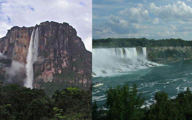 La cascada más alta de la Tierra se llama el Salto Ángel (der) ubicada en medio de los bosques tropicales del sureste del país latinoamericano, con una altura de 979 metros. Mientras las cataratas del Niágara (izq) tiene tan solo 54 metros.
