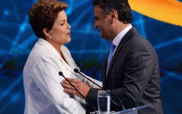 Foto: AFP/Nelson Almeida. Rousseff y Neves protagonizaron ayer su primer debate televisivo antes del balotaje del 26 de octubre.