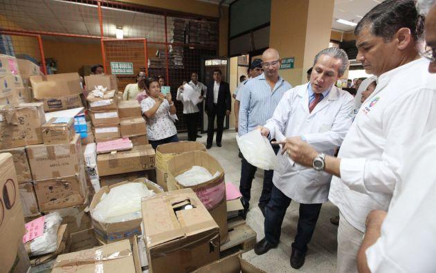 Correa en su visita al hospital del Seguro. Foto: Flickr / Presidencia de la República