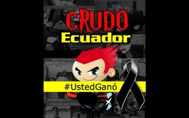 """La imagen de perfil de Crudo Ecuador ahora está acompañada del hashtag """"#UstedGanó"""" y un lazo negro. Foto: Facebook."""