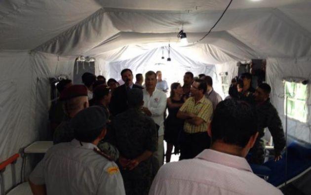 En el campamento médico militar. Foto: Gobernación del Guayas