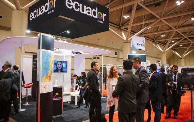 El stand de Ecuador en el la feria mundia de minería PDAC, que se realiza en Toronto. Foto: Ministerio coordinador de Sectores Estratégicos