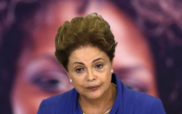 Dilma Rousseff durante una ceremonia conmemorativa del Día de la Mujer, en Brasilia, este 9 de marzo. Foto: REUTERS