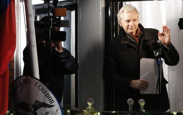 Assange el pasado 13 de marzo, en la Embajada de Ecuador en Londres. Foto: archivo / REUTERS.