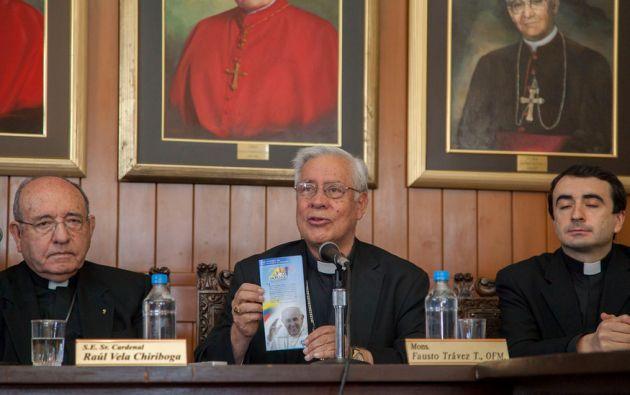Miembros de la Conferencia Episcopal Ecuatoriana durante la socialización de la agenda del papa. Foto: Flickr / Cancillería del Ecuador.