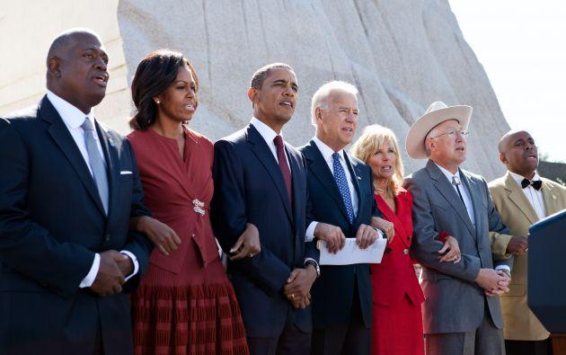 Los Obama cantando We Shall Overcome durante un evento en 2011. Foto: Michelle Pictures.