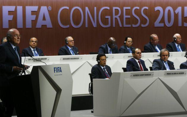 """Joseph """"Sepp"""" Blatter durante el discurso inaugural del congreso en Zúrich. Foto: REUTERS."""