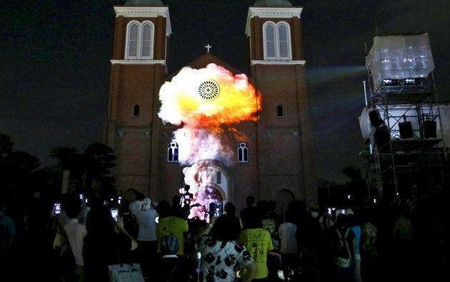 """En la catedral de Urakami se proyectó el """"hongo"""" provocado por la bomba."""
