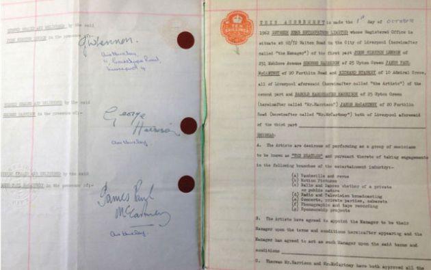 El primer contrato de The Beatles.