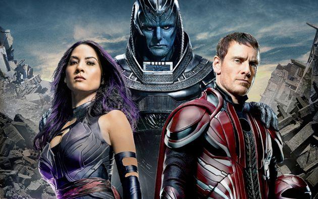 "Oscar Issac, Olivia Munn y Michael Fassbender en ""X-Men: Apocalypse""."