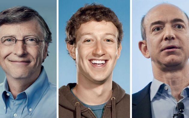 Bill Gates (Microsoft), Mark Zuckerberg (Facebook) y Jeff Bezos (Amazon).