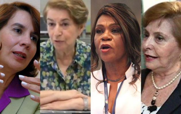 Rosalía Arteaga, Mae Montaño, Nila Velásquez y Jenny Estrada rechazan esta condecoración. Foto: Ecuavisa.