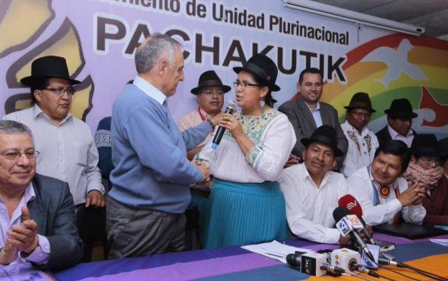 El movimiento indígena acepta declinar como binomio a Tibán para buscar una figura de la Costa. Foto: Ecuavisa.