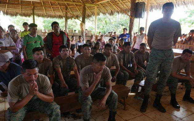 Los 11 militares retenidos por el Pueblo Sarayaku habrían estado sin permiso en el territorio de la comunidad. Foto: Cortesía