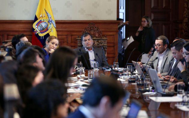 El Presidente Rafael Correa en el Gabinete Itinerante realizado en Pangua en 2014.