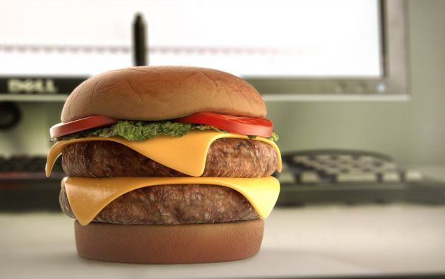 Imagen de una hamburguesa impresa en 3D. Foto: Captura de video.