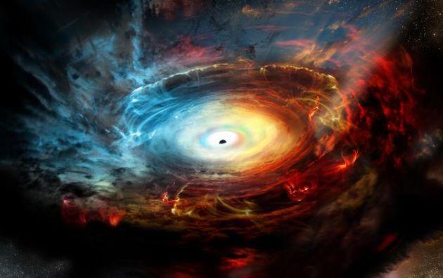 Una ilustración de lo que sería un agujero negro en el centro de la Vía Láctea. Foto: NRAO.