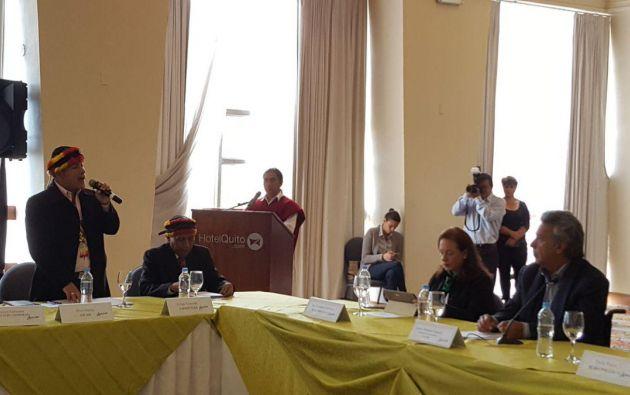 Elvis Nantip asistió a la reunión con Moreno en representación de la Federación Interprovincial de Centros Shuar. Foto: TW Vamos Lenín