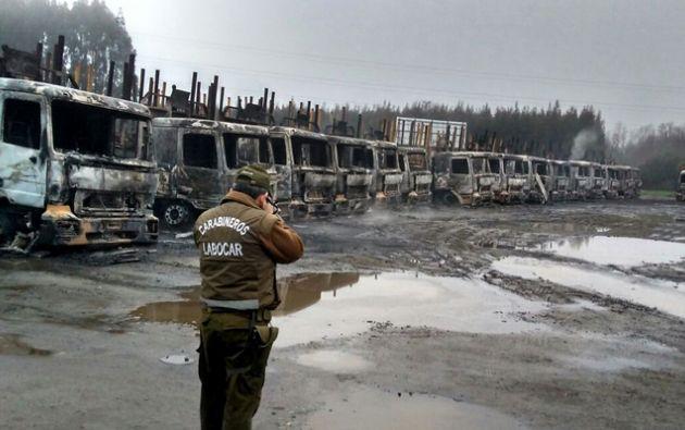 """""""Hoy hemos sabido de un atentado a camiones forestales en la región de los Ríos. Vamos a combatir la violencia"""", aseguró la presidenta Michelle Bachelet. Foto: Agencia Uno"""
