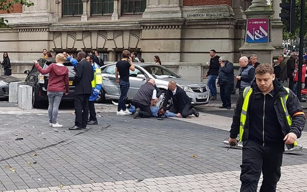 Once heridos tras ser atropellados por auto en el centro de Londres. Foto: AFP