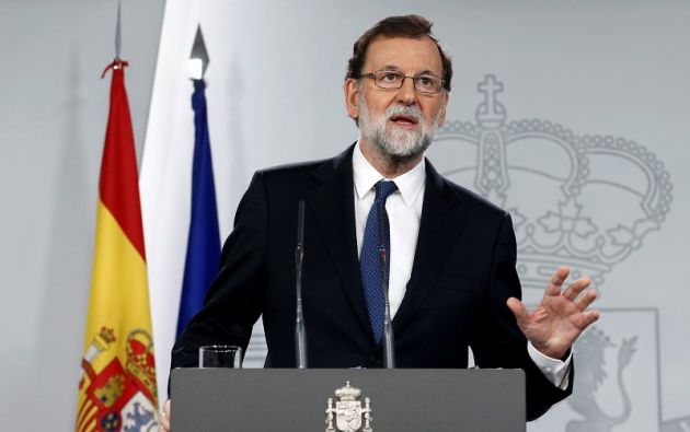Rajoy argumentó que los objetivos son, por este orden, volver a la legalidad, restablecer la normalidad, mantener la recuperación económica y celebrar elecciones en Cataluña. Foto: Reuters