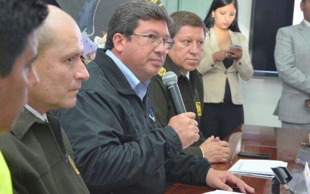 El ministro del Interior, César Navas, indicó que es la desarticulación más grande que se ha visto por concepto de defraudación fiscal. Foto: Ministerio Interior