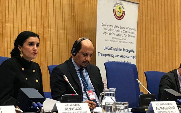 """La corrupción, destacó la ministra en su discurso, es """"una de las peores formas de violencia social"""". Foto: @ecuadorvienna"""