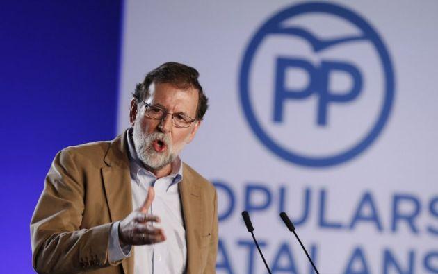 """""""Había que recuperar el respeto a la libertad y la convivencia y era urgente restituir el autogobierno y el interés general"""", dijo Rajoy. Foto: AFP"""
