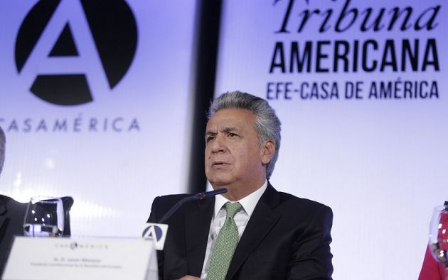 """Esos resultados """"nos alientan y nos dan esperanza, como ecuatorianos de bien, de que podemos construir un Estado de derecho"""", remarcó Moreno. Foto: Presidencia"""