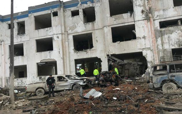 ESMERALDAS, Ecuador.- Autoridades contabilizan más de una veintena de heridos tras la detonación de artefacto explosivo en estación policial. Foto: Twitter Ministerio del Interior.